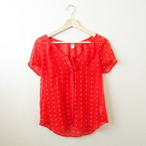 Old Navy •  Sheer Red Blouse